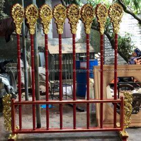 Bộ bát bửu bằng đồng sơn son thếp vàng cao 2m2 dành cho Phật giáo