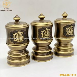 Bộ đài thờ bằng đồng vàng hai công nghệ tinh xảo