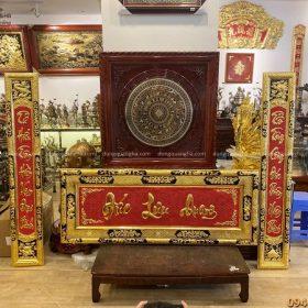 Bộ đại tự câu đối Đức Lưu Quang thếp vàng kích thước 1m55