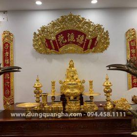 Bộ đồ thờ cúng bằng đồng đầy đủ thếp vàng 9999 cho ban thờ gia tiên