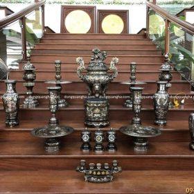 Bộ đồ thờ cúng bằng đồng đỏ khảm ngũ sắc đầy đủ phụ kiện