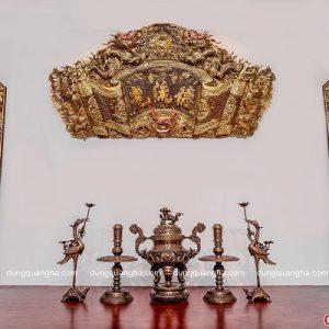 Bộ đồ thờ cúng ngũ sự bằng đồng vàng làm màu hun giả cổ