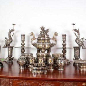 Bộ đồ thờ đầy đủ khảm ngũ sắc - đỉnh 70cm chạm rồng