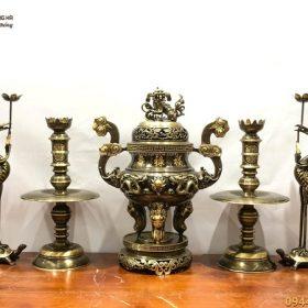 Bộ đồ thờ ngũ sự bằng đồng hai công nghệ dát vàng chữ cao 60cm