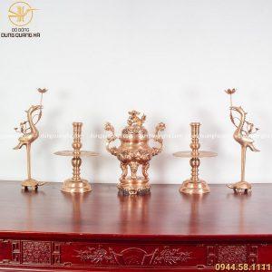 Bộ đồ thờ ngũ sự đồng đỏ mộc - đỉnh cao 50cm chạm rồng