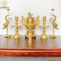 Bộ đồ thờ ngũ sự đồng vàng đúc máy đỉnh 40cm chạm rồng