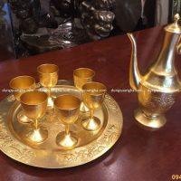 Bộ ly uống trà bằng đồng thếp vàng 9999 hàng đặt