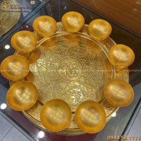Bộ mâm bát bằng đồng thếp vàng 9999 hoa văn tinh xảo
