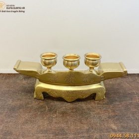 Bộ ngai 3 chén thờ bằng đồng catut đẹp trang nghiêm tinh xảo