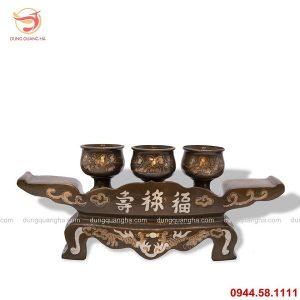 Bộ ngai 3 chén thờ bằng đồng khảm tam khí