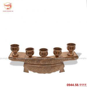 Bộ ngai 5 chén thờ bằng đồng đỏ cổ kính