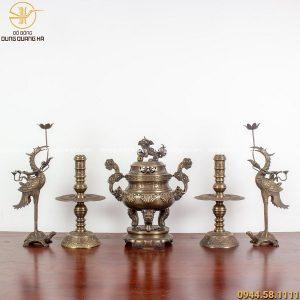 Bộ ngũ sự bằng đồng vàng hun - 40cm chạm sòi chữ Hán