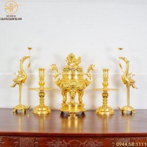 Bộ ngũ sự dát vàng 9999 cao 70cm chạm rồng tinh xảo