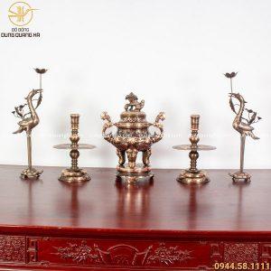 Bộ ngũ sự đồng đỏ cạo màu - đỉnh cao 45cm chạm sòi chữ Hán
