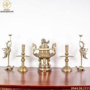 Bộ ngũ sự đồng vàng hai công nghệ - đỉnh cao 60cm chạm rồng (mẫu 2)