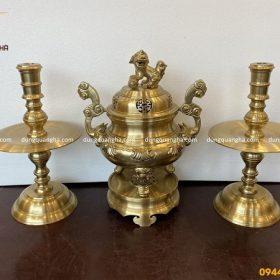 Bộ tam sự đỉnh nến bằng đồng vàng catut cao 50cm