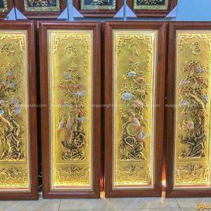 Bộ tranh Tứ Quý bằng đồng vàng nền xước khung gỗ 1m2 x 40cm12