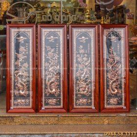 Bộ tranh tứ quý đẹp màu đồng đỏ mộc nền sơn đen độc đáo