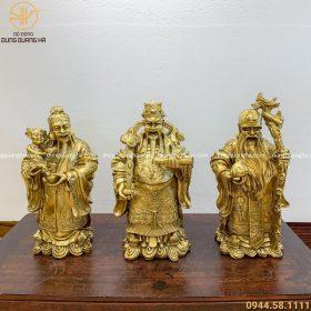 Bộ tượng Tam Đa Phúc Lộc Thọ bằng đồng vàng mộc đẹp tinh xảo