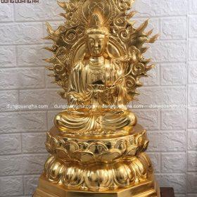 Bộ tượng tam thánh Phật bằng đồng cao 67cm dát vàng 9999