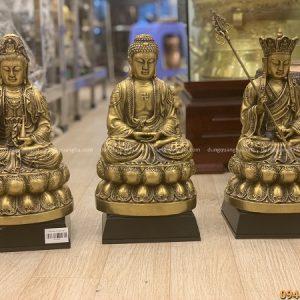 Bộ tượng tam Thánh Phật đẹp tôn nghiêm bằng đồng cao 30cm
