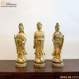 Bộ tượng Tam Thánh Phật đẹp tôn nghiêm bằng đồng vàng tinh xảo