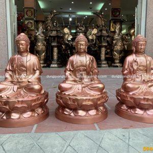 Bộ tượng Tam Thế Phật bằng đồng đỏ đẹp tôn nghiêm