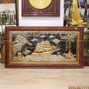 Bức tranh Thuận Buồm Xuôi Gió bằng đồng khảm tam khí 1m7