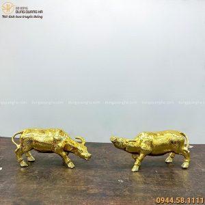 Cặp tượng trâu phong thủy tài lộc bằng đồng mạ vàng 24k