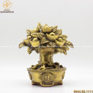 Cây tài lộc bằng đồng vàng mộc cao 21cm
