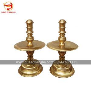 Chân nến đồng vàng mộc trơn cho bàn thờ 167 x 81cm