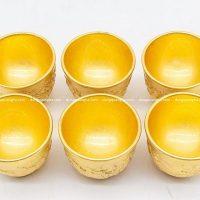 Chén uống trà bằng đồng mạ vàng cao 4cm hoa văn tinh tế