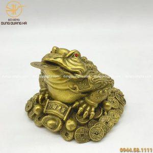 Cóc ngậm tiền phong thủy bằng đồng vàng mộc cỡ nhỏ
