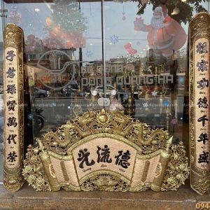 Cuốn thư câu đối Đức Lưu Quang kích thước 1m55 hun giả cổ