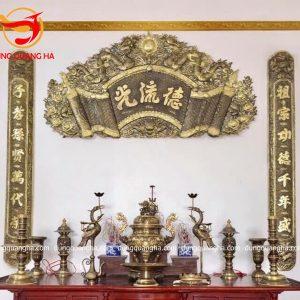 Cuốn thư câu đối Đức Lưu Quang kích thước 1m55