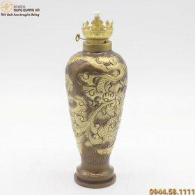 Đèn dầu thờ cúng hoa văn rồng phượng cao 20cm bằng đồng vàng