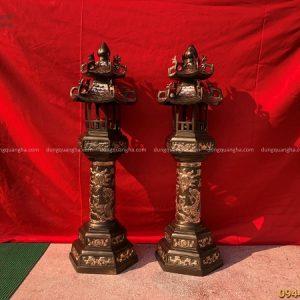 Đèn thờ bằng đồng đỏ cạo màu cao 1m2 cổ kính trang nghiêm