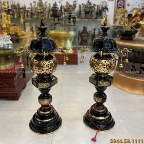 Đèn thờ bằng đồng vàng cao 90cm thiết kế treo chuông độc đáo