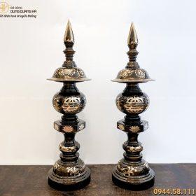 Đèn thờ cúng bằng đồng cạo màu cổ kính tinh xảo cao 98cm