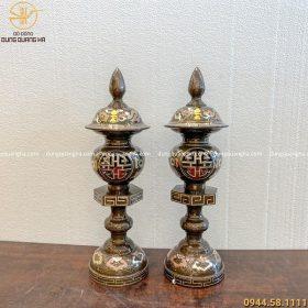 Đèn thờ cúng đồng đỏ ngũ sắc 50cm hoa văn hồ lô khảm vàng