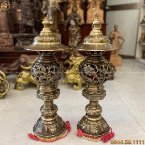 Đèn thờ đẹp rồng phượng bằng đồng vàng hai công nghệ cao 58cm