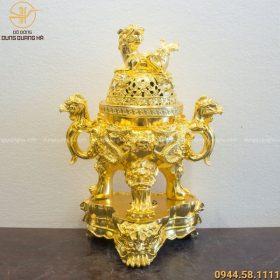 Đỉnh đồng thờ cúng song long chầu nguyệt cao 60cm mạ vàng