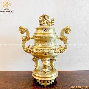 Đỉnh thờ bằng đồng vàng mộc chạm sòi cao 70cm