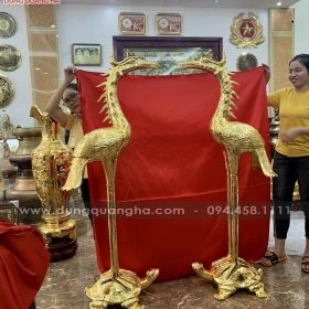 Đôi hạc thờ bằng đồng cỡ lớn mạ vàng 24k