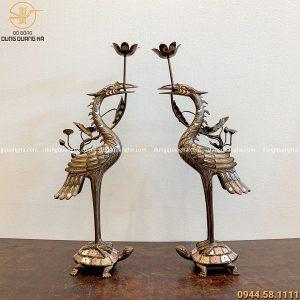 Đôi hạc thờ bằng đồng khảm ngũ sắc cao 60cm tinh xảo