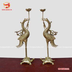Đôi hạc thờ bằng đồng vàng cao 60cm