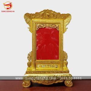 Khung ảnh thờ bằng đồng vàng màu mộc gò thúc thủ công
