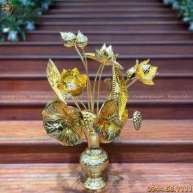 Lọ hoa sen thờ cúng bằng đồng mạ vàng 24k đẹp tinh xảo
