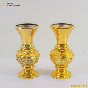 Lọ hoa thờ bằng đồng thếp vàng 9999