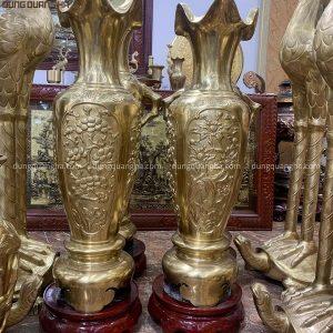 Lọ lộc bình tứ quý bằng đồng vàng catut cao 1m2